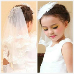 Flower Girl Veils 2015 Wedding Applique Shoulder Length Two Layer Whie Ivory Bridal Wedding Cheap White Ivory Party Bride Wedding Veils