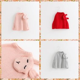 Wholesale New Arrival Princess Babies Girls Knitting Capes Poncho Sweaters Rabbit Patchwork Stylish Western Fashion Christmas Casual Tops Putwears