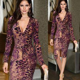 New Women Sexy Leopard Print Bodycon Party Dress Slim Deep V Night Club midi Dresses Long sleeve Club Wear