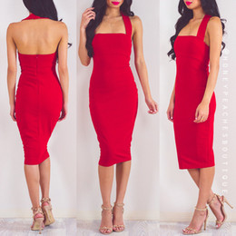 Wholesale-High Quality Women Fashion Sexy Red Rayon Bandage Dress 2016 Ladies Designer Bodycon HL Bandage Dress