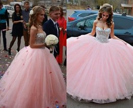 Wholesale Lovely Pink Princess Ball Gown Wedding Dresses Sexy Prom Gowns Sweetheart Sparkly Crystals Bridal Evening Dress Puffy Tulle Skirt