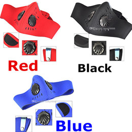 Wholesale Black RED Blue Adjustable Activated Carbon Fog Haze Cycling Anti dust Half Face Mask Filter Neoprene Windproof Breathable Tactical Mask