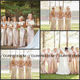 2019 Hottest Sparkly Bridesmaid Dress with Short Cap Sleeve Mermaid Scoop Backless Bling Bling Sequins Bridemaid Dress Long