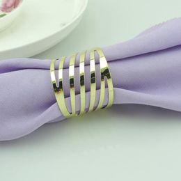 Wholesale 500pcs Hollow Metal Stripe Napkin Rings Serviette Tablewear Wrapper Holders Hotel Restaurant Bar Table Decoration wa153j
