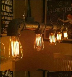 Wholesale 2016 Edison Personalized bar Lighting counter lamps vintage pendant lights water pipe pendant lamp for Warehouse E27 bulbs