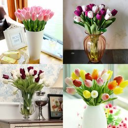 Wholesale 5Pcs Latex Real Touch Tulip Artificial Flower Bouquet for Wedding Party Home Decoration Products GYH YJX