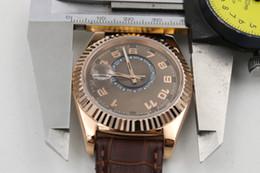 Esfera blanca para hombre de los relojes automáticos en Línea-La marca de fábrica nueva de lujo limitó el reloj mecánico automático de oro de la correa de cuero de oro de la correa grande los relojes retros del reloj del reloj del deporte del mens del dial 42m m