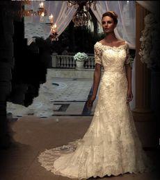 2016 Trendy Lace Sheath Wedding Dresses with Short Sleeves Ivory Applique Scoop A-Line Bridal Gowns Vintage Long Vestido De Novia