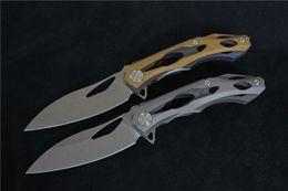 Wholesale ALEXEY KONYGIN decepticon blade D2 Stone wash handle titanium ball bearing Flipper Hunting knife CNC knife outdoor EDC