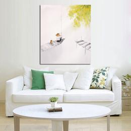 Main poisson conçu en Ligne-Livraison gratuite et peints à la main Images sur toile Pêche sous l'arbre Peinture à l'huile pour salle Décor Peinture mur Hang Craft