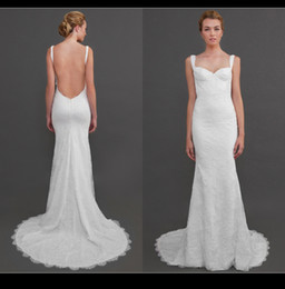 Wholesale 2015 Vintage Katie May Lace Wedding Dresses Spaghetti Strap Sexy Open Back Court Train Spring Summer Beach Garden Sienna Gown Bridal XP