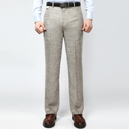 Wholesale Men s Business Casual Thin Suit Pants Linen Summer Style Solid Straight Work Pant For Man Classic Dress Pants Anti wrinkle