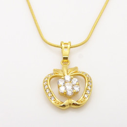 Amazing Real 24K Yellow Gold Filled GF boys'  girls' apple pendant 1mm chain necklace 5G New