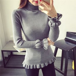 Wholesale New winter han edition of lotus leaf sleeve turtleneck sweater render women long sleeve render unlined upper garment sweater knit female hed