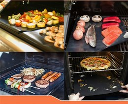 Wholesale 205pcs BBQ Grill Liner Mat cm Resuable Barbecuat Heat Resistant Grill Mat Sheet Microwave Oven Cooking Mat BBQ grill cover By DHL Free