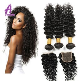 7A Brazilian Deep Wave With Silk Base Closure Human Hair Weave 3 Bundles With Closure Hand woven hair With Bundles 8-30 inch