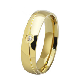 6mm Fashion 18K Gold Plated Stainless Steel Couple Rings with Crystal