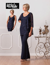 2017 Best Seller Navy Blue Plus Size Chiffon Pants Suits for Mother of Bride Groom Custom Made Chiffon Three Pieces Beach Wedding Party