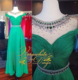 Charming Green Evening Dresses Bateau Neck Chiffon 2016 A-Line Cap Sleeves with Crystal Beads Sweep Train Formal Party Gowns