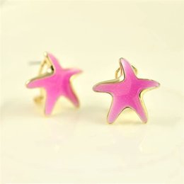 Wholesale Korean five pointed star starfish fluorescent candy colored female models hypoallergenic fashion earrings ear buckle spring and summer