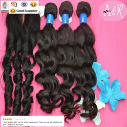 Wholesale Mrs AnGel Hair Raw Material Loose Wave Hair Lace Closures Color B Peruvian Hair Weft With Closure