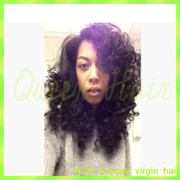 2015 Hot Style Virgin Hair Lace Full Wig Free Shipping Curly Wig For African American Black Women Glueless Wig New Front Wig