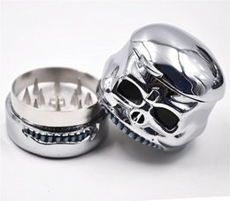3 layers metal tobacco herb cigarette skull shape zinc alloy grinder with display box for smoking pipe vaporizer