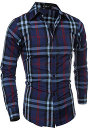 2016 New style mens shirts slim fit long sleeve plaid fashion cotton men dress shirt free shipping
