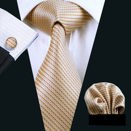 Wedding Silk Tie Set Hanky Cufflinks Yellow Mens Jacquard Woven Business Necktie 8.5cm Width Casual Set N-0688