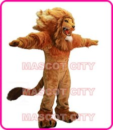 Wholesale Fire Lion Mascot Costume Adult Size Wild Animal Male Lion King Carnival Party Cosply Mascotte Fit Suit Kit EMS FREE SHIP SW1002