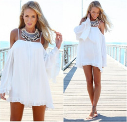 Summer Sexy Women Spaghetti Strap Off Shoulder Long Sleeve Ruffled Frilled Beach Loose Long Top Blouse Party Mini Dress Vestidos