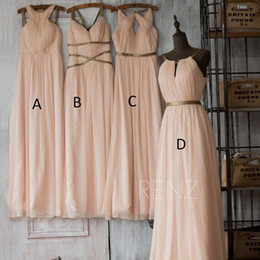 Wholesale Long Blush Chiffon Gowns - Blush Pink Bidesmaids Dresses 2016 Mixed Style Chiffon Long Boho Wedding Party Guest Gowns Purple Black Custom Made Girls Maid of Honor 24W
