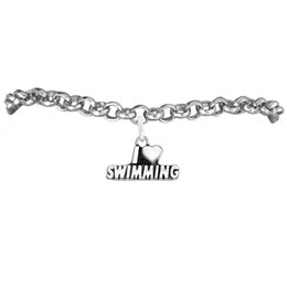 Wholesale Alloy I Love Swimming Charm Rolo Chain Bracelets 100pcs A lot Link Chain Antique Silver Plated