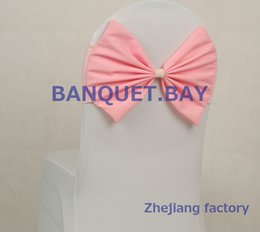 Wholesale Pink Color Chair Band With Same Color Poly Bow For Spandex Chair Cover