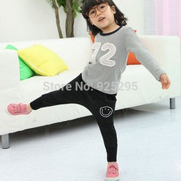 Wholesale-Toddler Girls Cotton Harem Pants Smile Pattern Bottoms Casual Trousers 1-6Y