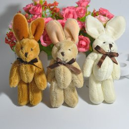 H=13cm Cute rabbit with bow tie bunny joints cartoon bouquet doll plush toy pendant lanyard 40pcs