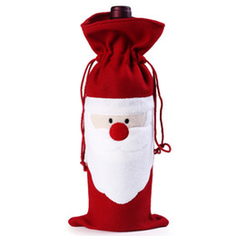 Wholesale Christmas Hot Red Wine Bottle Cover Bags Christmas Dinner Table Decoration Home Party Decors Santa Claus Christmas Supplier Free Ship