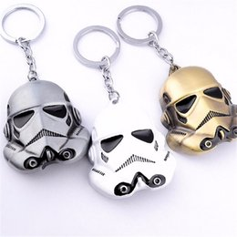 Wholesale 3 colores Star Wars llavero cm StormTrooper casco storm trooper anillo de la cadena Darth Vader la máscara superhero llavero