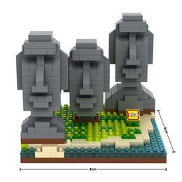 Wholesale NO Mini Qute LOZ World architecture Easter Island Building plastic building block scale model educational toy
