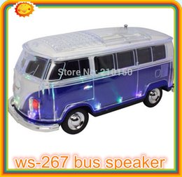 Wholesale dhl FREE new dhl free ws led crystal car speaker portable bus speaker with usb tf fm