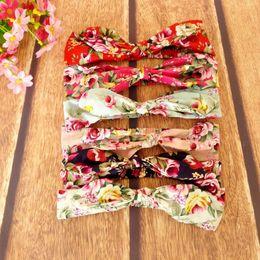 6 color Baby Headbands Girls Head wraps Bow Baby dot Head wraps Newborn Headband rose flowers hairband girl children's flora cotton CY000