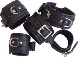 Wholesale - 5PCS Leather Bondage Neck Collar Ring Wrist & Ankle Restraints Handcuff Anklecuff,SM443