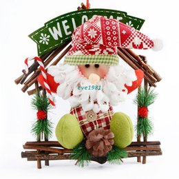 Wholesale 2015 Animated Merry Christmas Decor Artificial Flowers House Shape With Santa Claus New Year Door Decorations Ornament For Home