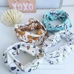 Wholesale Fashion Baby Children Scarf Winter Boys Girls O Ring Neckerchief Panda Raccoons Geometric Muffler Scarves For Kids Clothing Accessories