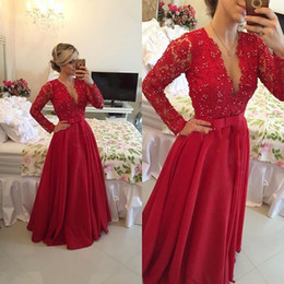 Red Long Lace Prom Dresses 2016 V neck Long Sleeve A line Pleats Beaded Chiffon Bow Knot Sath Party Evening Gowns Custom made