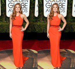 Wholesale 73rd Golden Globe Awards Evening Dresses Jewel Backless Beads Orange Amy Adams Wear Jenny Packham Prom Party Red Carpet Celebrity Gowns