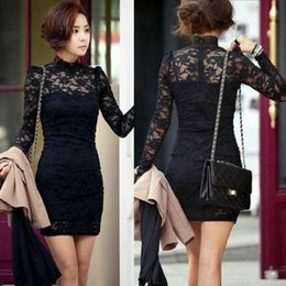 Wholesale Hot sale fashion turtleneck puff long sleeve lace Dresses women tight base long shirt black mini dress size XS