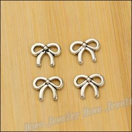 Charms Antique Plated Silver Zinc Alloy Bow Fit Pendant Bracelet Necklace DIY Jewelry 450 pcs lot