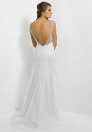 Wholesale Trendy White Pink Red Chiffon Beaded Backless Sexy Evening Dresses Long Prom Gowns with Pleats ans Sweep Train