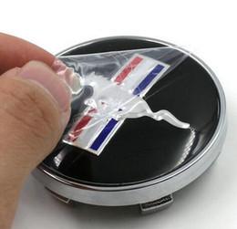 Wholesale 4pcs BLACK RUNNING HORSE MM CAR WHEEL Hub Center LOGO Caps ABS emblem badge Fits for FORD Mustang